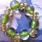 Green large baubles fun slip on bracelet