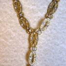 Elegant goldtone Y fashion necklace with crystals