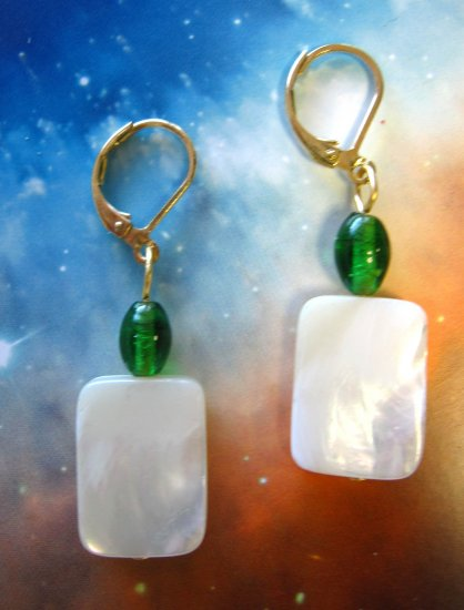 White mother of pearl with green vintage glass bead drop earrings