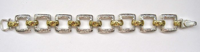 Fancy Fashion bracelet - silver squares with gold connectors - classy