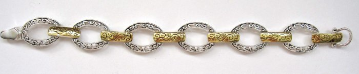 inv - Silver embossed oval loops attached with gold - wholesale - New