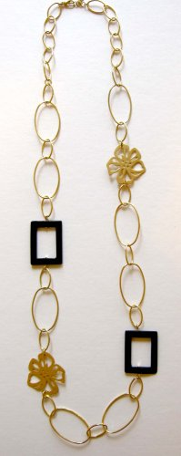 Gold ovals, flowers and black accents trendy fashion necklace