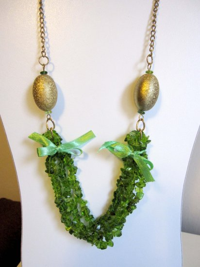 Green fashion statement one of a kind necklace