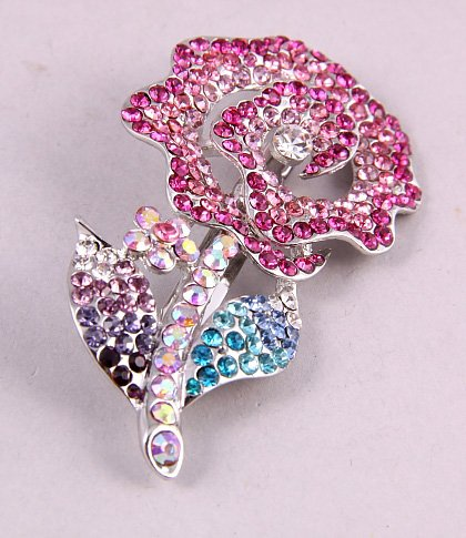 fashion jewelry ink crystals flower spring multicolour brooch pin