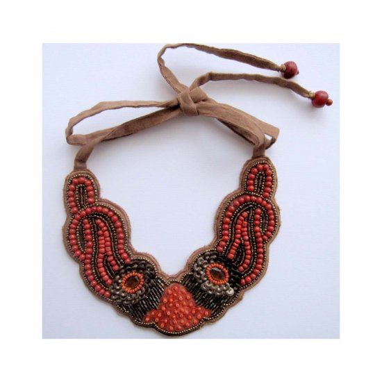 Fashion bib necklace brown and orange tie back
