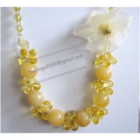 New Yellow necklace with organza handmade flower accent