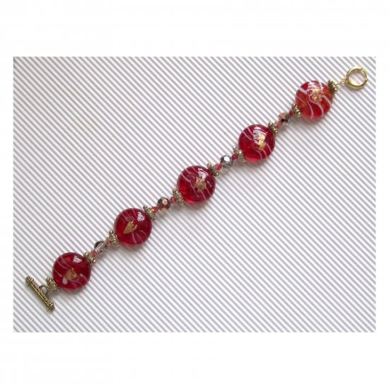 Red lampwork bracelet with toggle clasp
