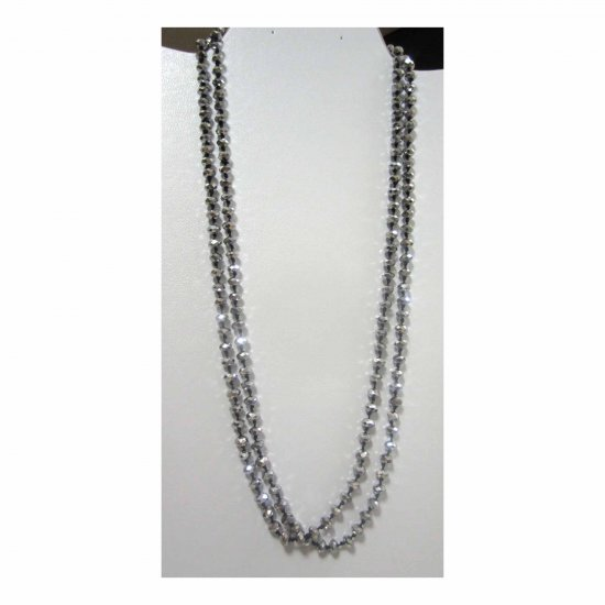 Gray faceted glass handknotted fashion necklace no clasp very long
