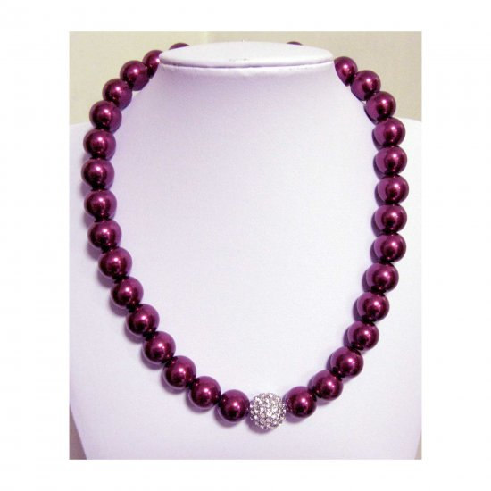 Wine pearl adjustable necklace - glass base