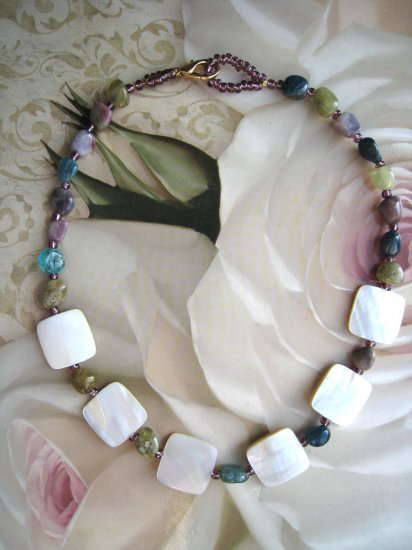 Tourmaline and mother of pearl designer fashion necklace