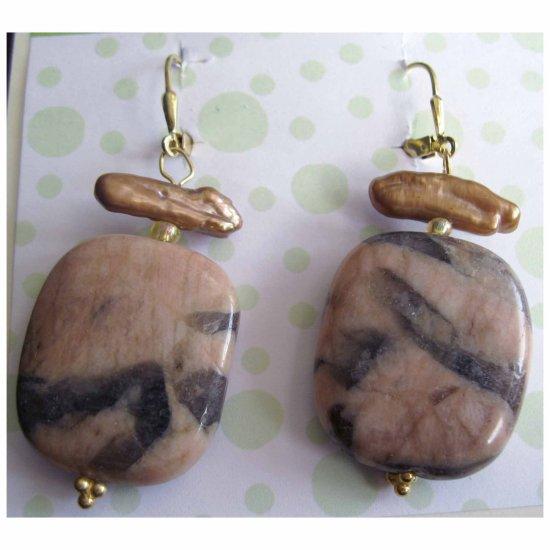 Semiprecious vermeille designer earrings: Jasper and f.w.cultured pearl