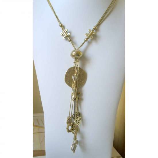 JD - Heart flowers and other charms gold trendy fashion necklace
