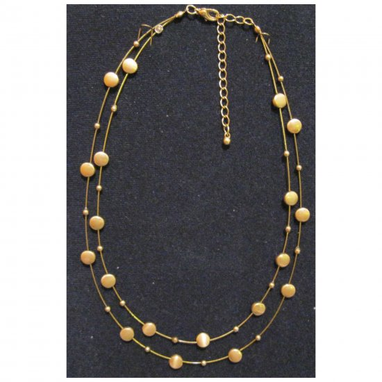 Fashion matt gold double row trendy fashion necklace