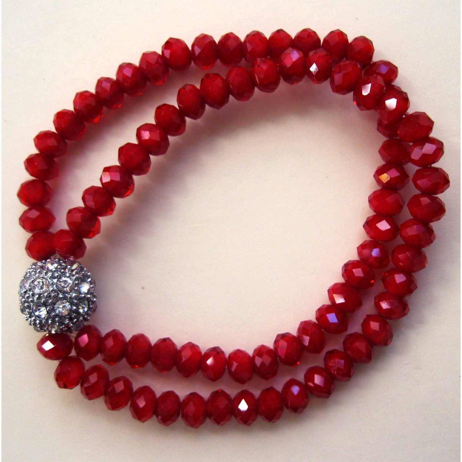 Red faceted double row slip on trendy fashion bracelet with crystal ball