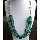 Green statement necklace with silver accents OOAK fashion jewelry