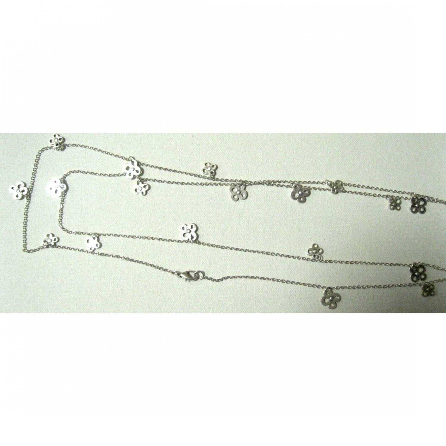 """Tiny silver flowers on 60"""" chain trendy fashion necklace"""