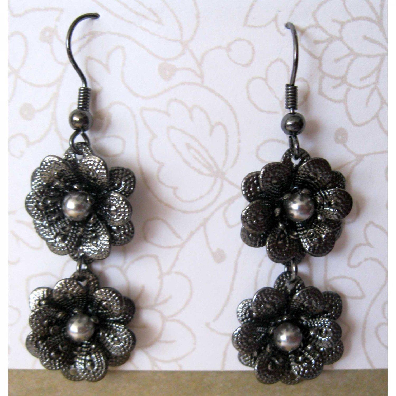 Black two flowers drop fashion earrings (1532e)