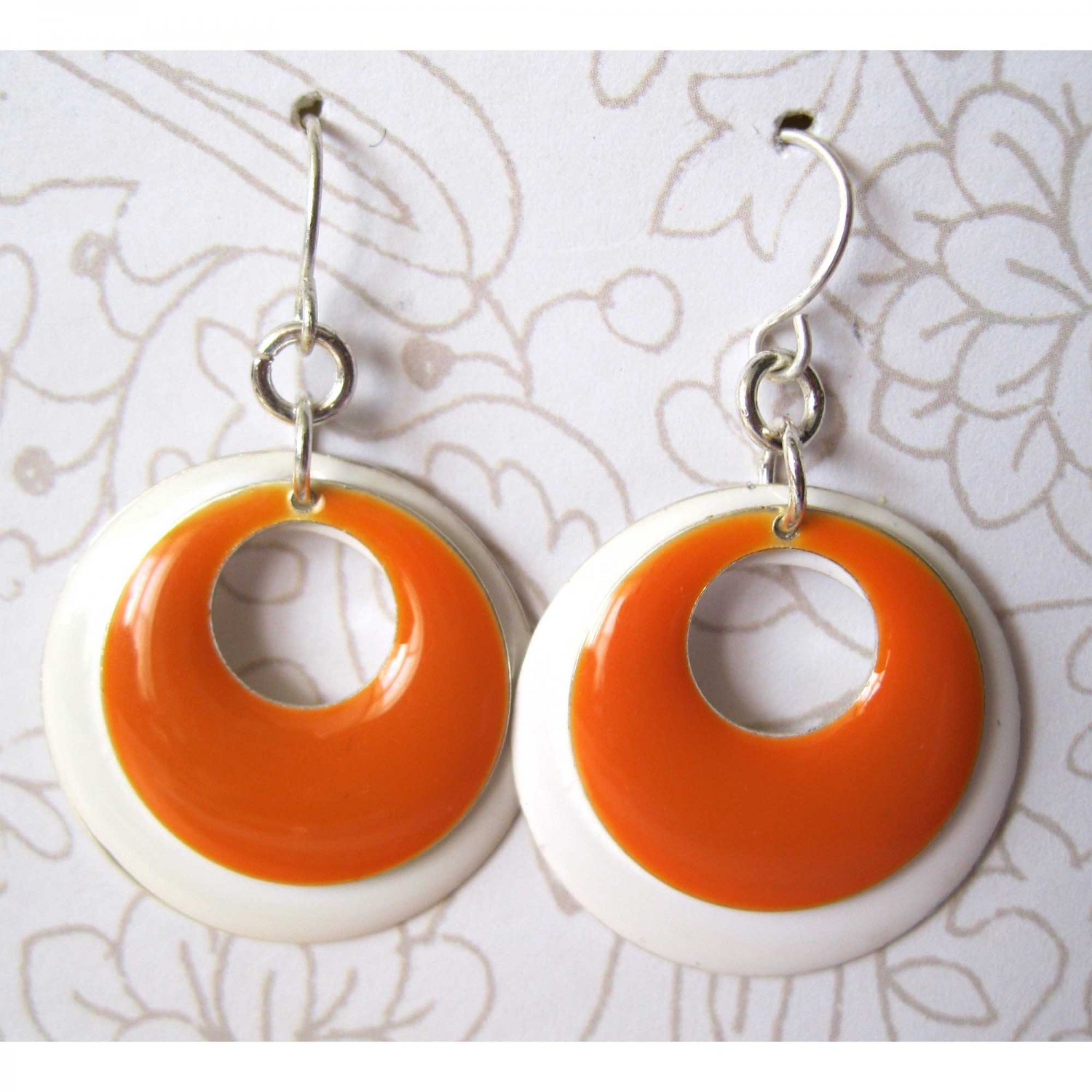 Orange and white circles fashion drop earrings [1515E]