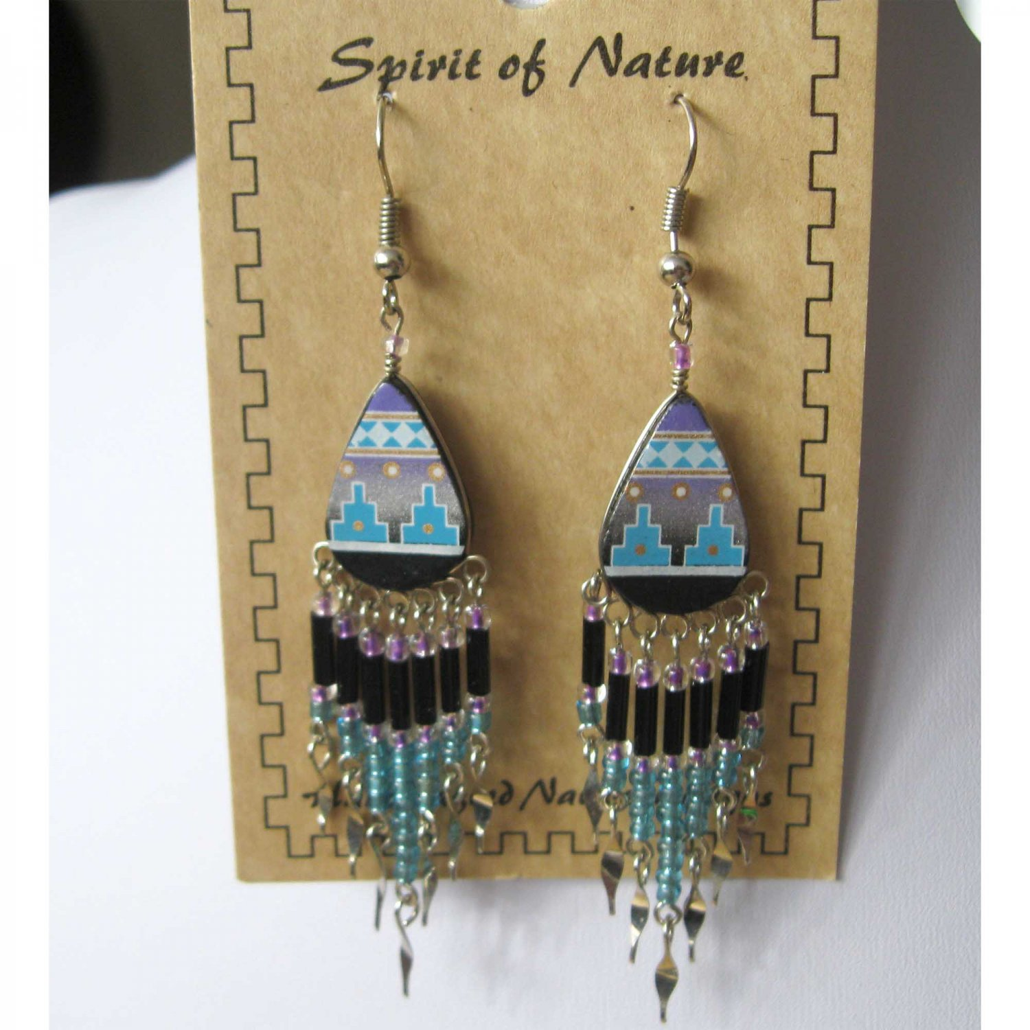 Aztec style blue black silver drop earrings - {1516E}