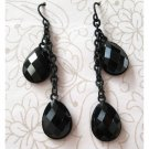 Black teardrop trendy fashion earrings on chain (1497E)