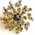 Lavendar and purple crystals starburst fashion pin