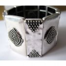 Silver statement trendy slip-on fashion bracelet (1573B)