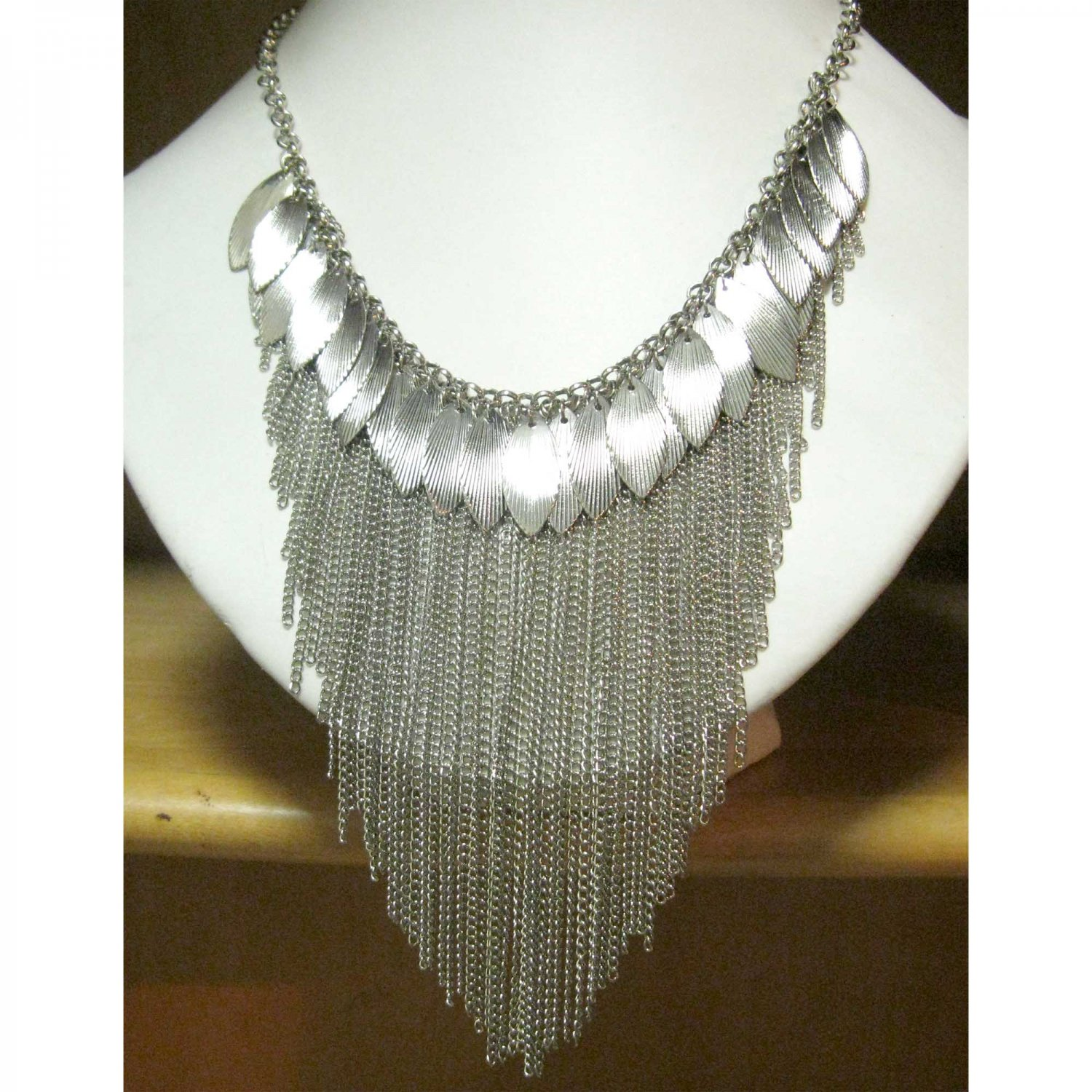 Silver statement fashion necklace cascading chains and leaf {1610N}