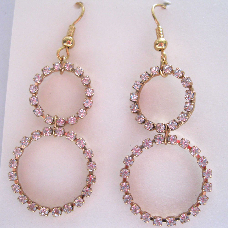 Two circles crystal loops trendy fashion earrings -1677E