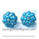 Turquoise flower clip on earrings {831E}