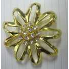 Shiny gold flower with crystals fashion pin {2084P}