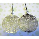 Silver laser cut fashion drop earrings