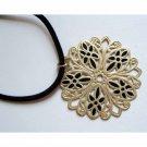 ON SALE Lovely gold and black trendy fashion pendant + velvet cord