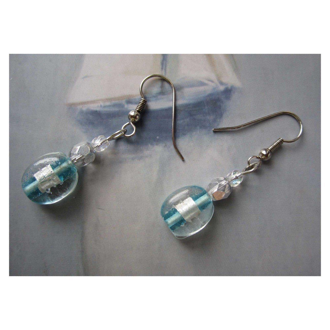 Blue lampwork glass drop trendy fashion earrings