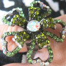 Trendy green flower with crystals adjustable fashion ring - 2200r