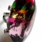 Funky fashion statement adjustable ring pink yellow green orange black