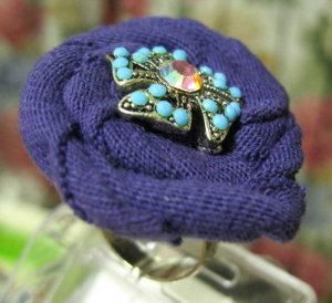 Handmade cotton purple flower adjutable ring with turquoise and crystal