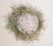 Fluffy OOAK crocheted pin embellishment with organza white flower
