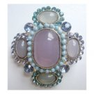 Pin pendant blue lavender crystals