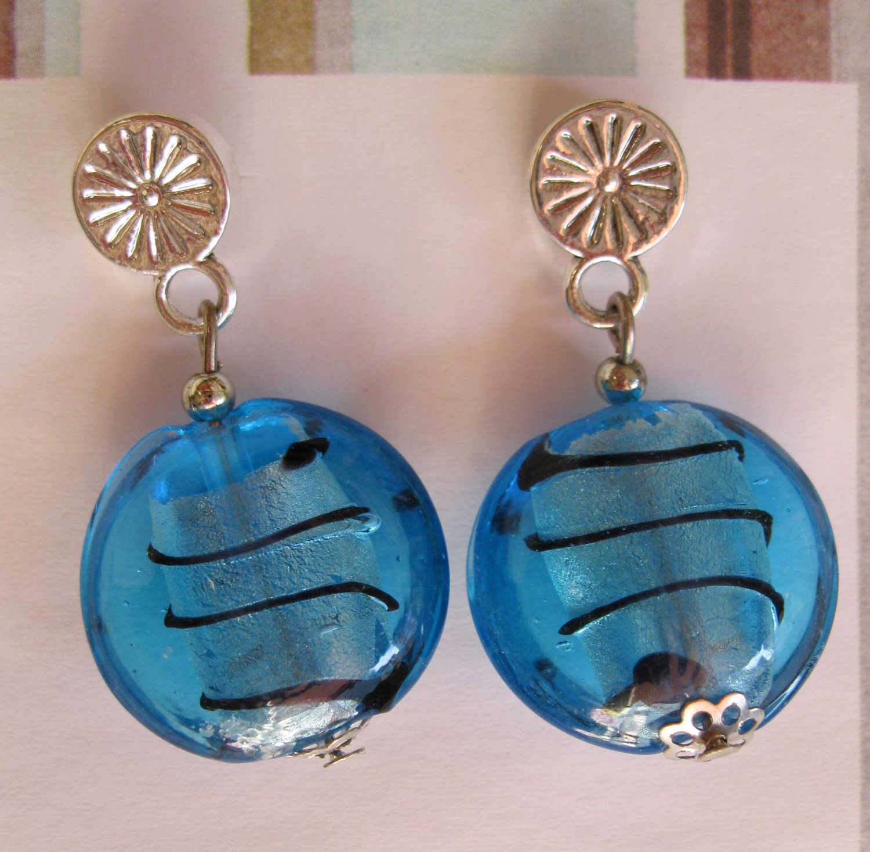 Blue lampwork glass fashion drop earrings