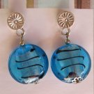 Blue lampwork glass fashion drop earrings