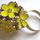 Yellow flowers adjustable fashion ring with crystals