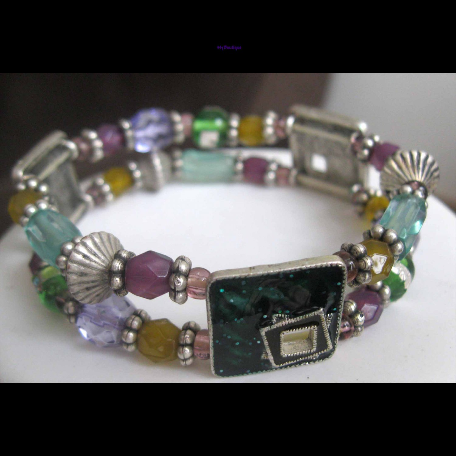 Slip on double row fashion bracelet green silver purple