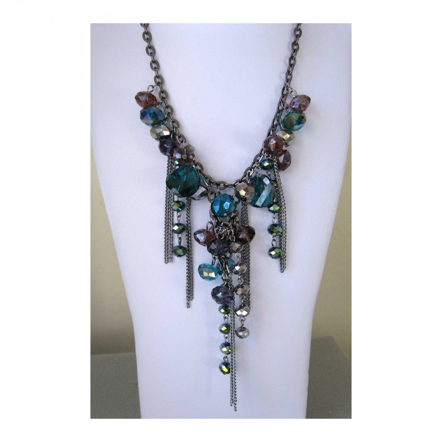 Blue gray cascading crystals trendy statement fashion necklace