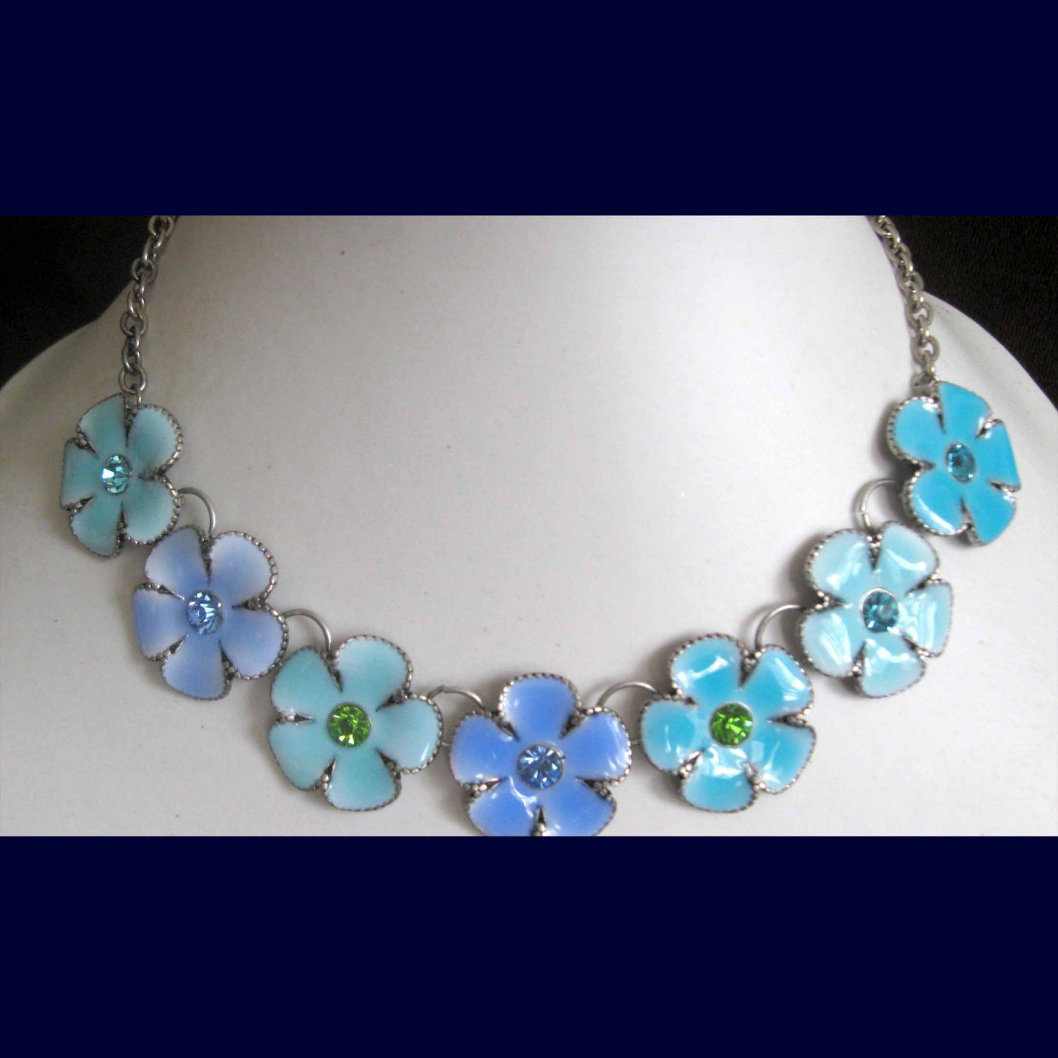 Blue flowers trendy statement necklace limited edition