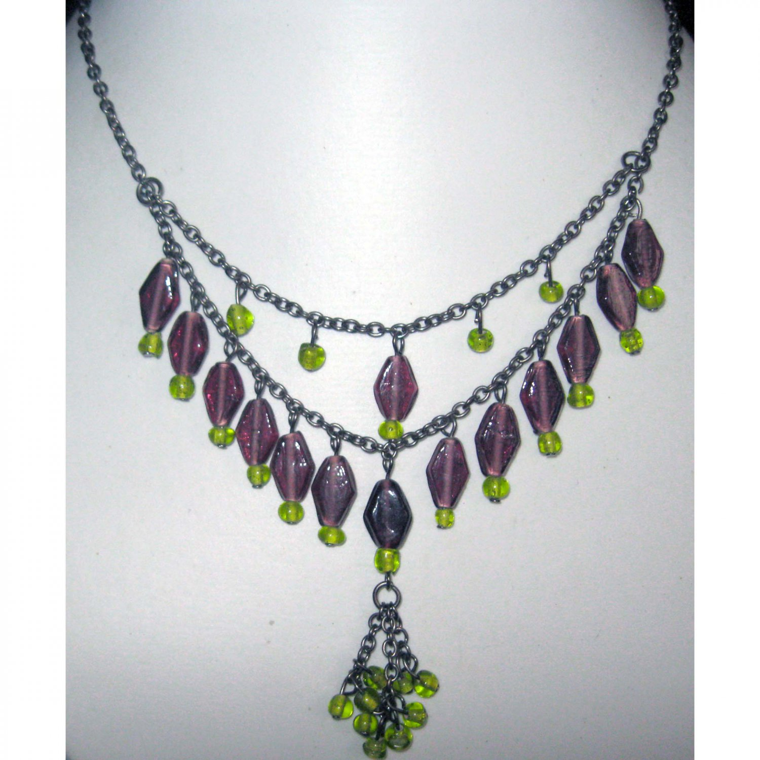 Purple and green fashion necklace {2245}