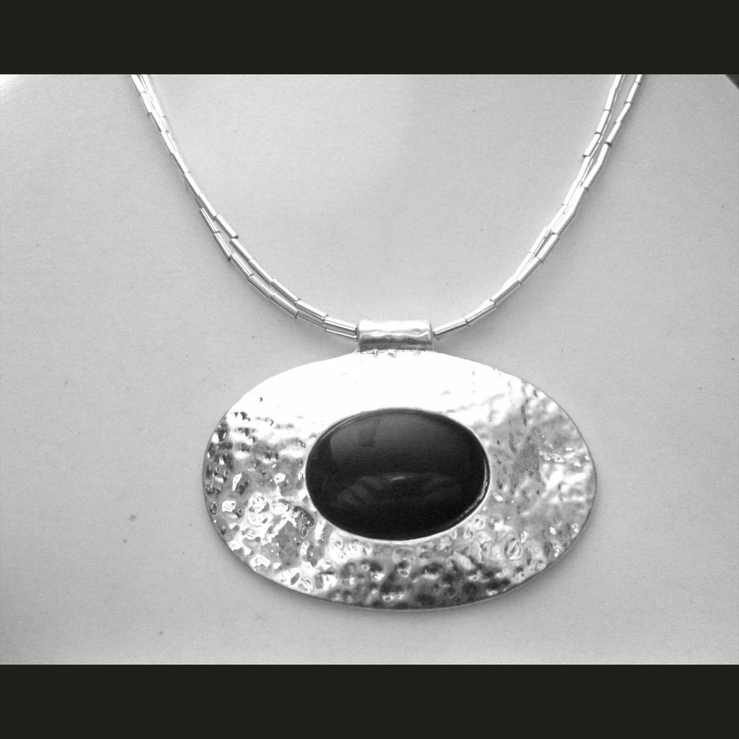 Fashion must have silver and black necklace