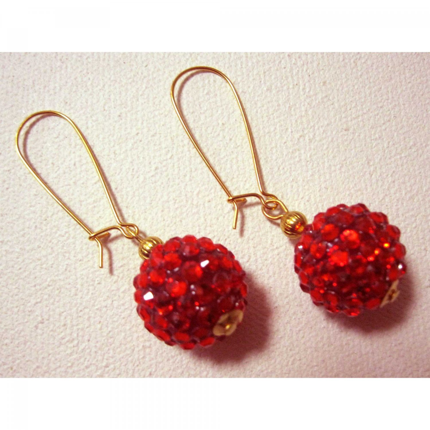 Red hot fashion earrings with crystals, Jewelry, red crystals fashion earrings, Chic
