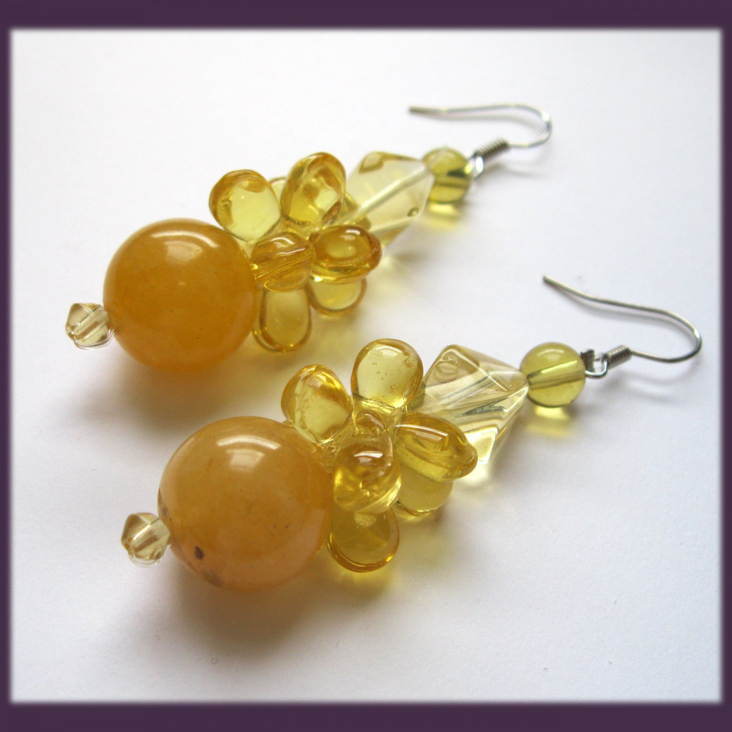 Yellow howlite drop fashion earrings
