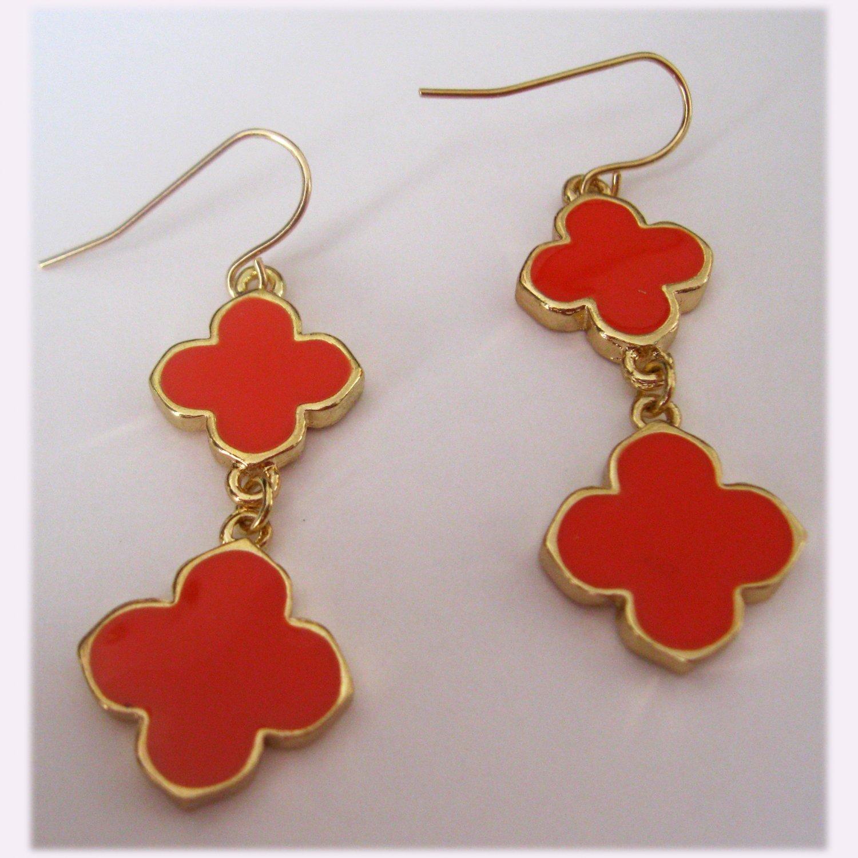 Orange fashion double clover drop earrings