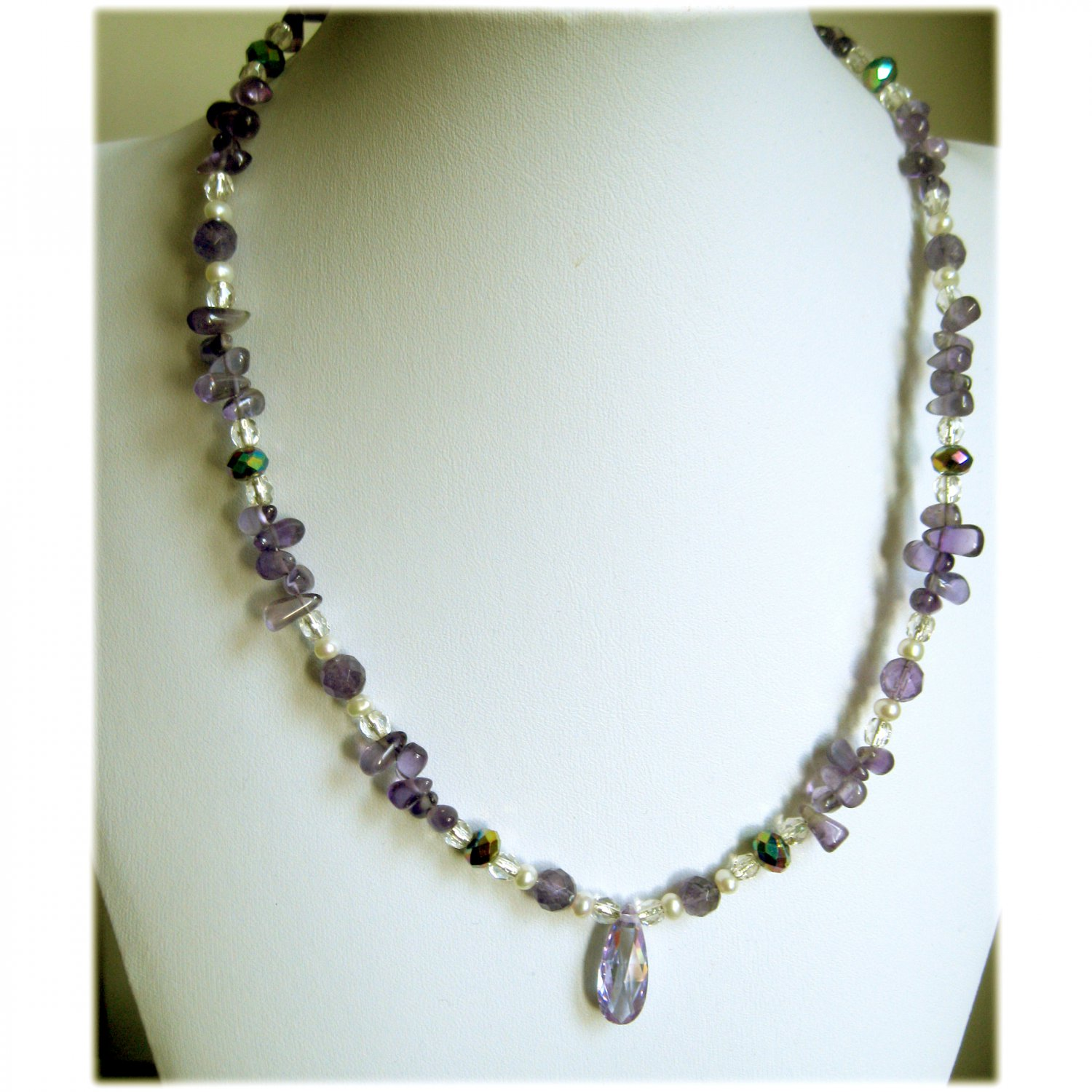 Amethyst, zircone and f.w. cultured pearl purple bridal necklace sterling silver